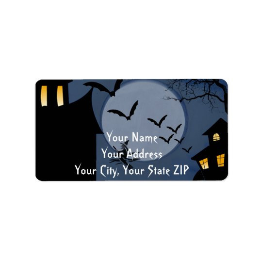 Haunted Houses and Witch Halloween Label