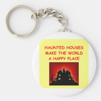 haunted houses basic round button keychain