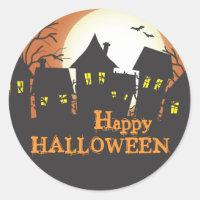 Haunted Houses Happy Halloween Round Stickers