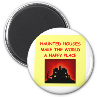 haunted houses 2 inch round magnet