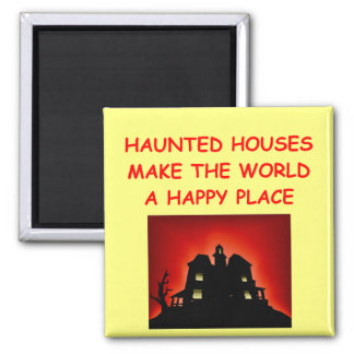 haunted houses 2 inch square magnet