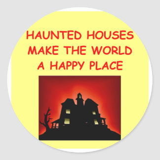 haunted houses classic round sticker