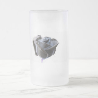 Haunted looking black white grey rose image frosted glass beer mug