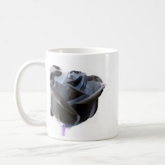Haunted looking black white grey rose image mug