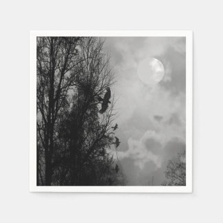 Haunted Moon with Ravens Halloween Napkin