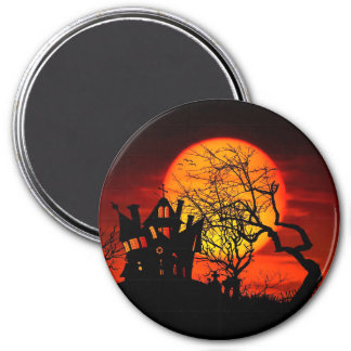 HAUNTED NIGHT, HAUNTED HOUSE! (Halloween) ~ 3 Inch Round Magnet