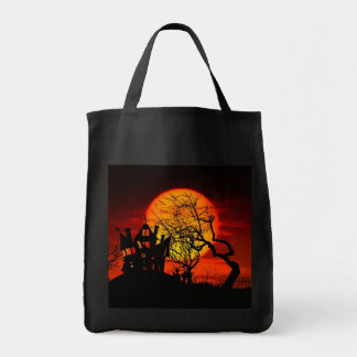 HAUNTED NIGHT, HAUNTED HOUSE! (Halloween) ~ Grocery Tote Bag