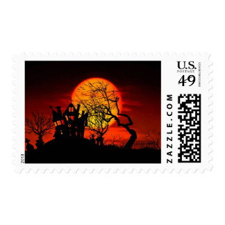 HAUNTED NIGHT, HAUNTED HOUSE! (Halloween) ~ Postage Stamps