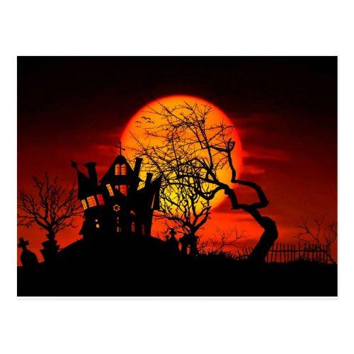 HAUNTED NIGHT HAUNTED HOUSE Halloween  Postcard