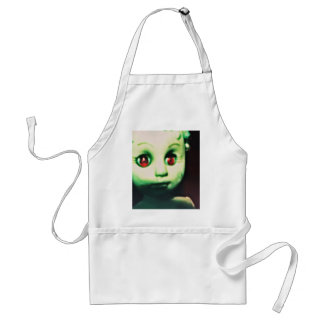 haunted red eyed doll products adult apron