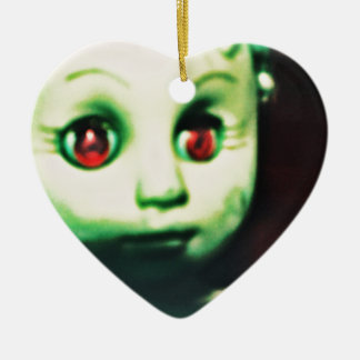 haunted red eyed doll products ceramic ornament