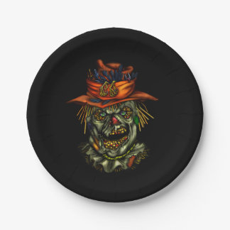 Haunted ScareCrowcrow Paper Plate