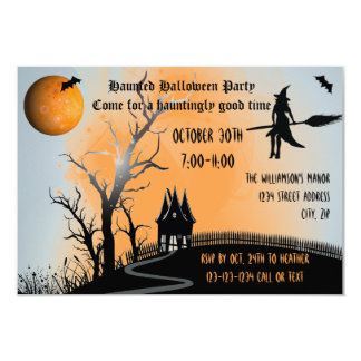 Haunted Scene - 3x5 Halloween Party Invite