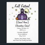 """Haunted Schoolhouse School Halloween Fall Festival Flyer<br><div class=""""desc"""">A flyer for a school fundraiser,  fall festival,  or halloween party featuring an illustration of a purple &quot;Haunted Schoolhouse&quot; surrounded by stars and a full moon.  Schoolhouse has a jack o lantern,  black cat,  spiderwebs,  and bats.  Personalize with details of your occasion.</div>"""
