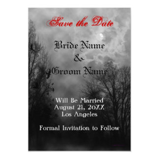 Haunted Sky and Ravens Custom Save the Date Magnet Magnetic Card