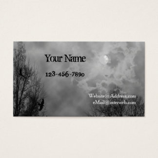 Haunted Sky Black White Custom Business Cards