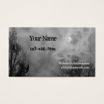 Professional Business Haunted Sky Black White Custom Business Cards
