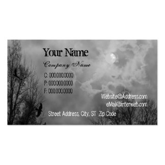 Haunted Sky Black White Custom Business Cards