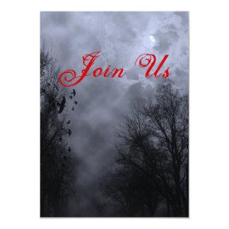 Haunted Sky Custom Blue Mist Halloween Invitation