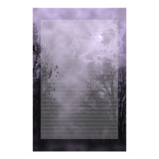 Haunted Sky Purple Mist Note Paper Lined Stationery