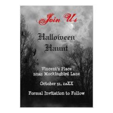 Haunted Sky Ravens Custom Halloween Invitation at Zazzle
