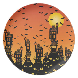Haunted Town Melamine Plate