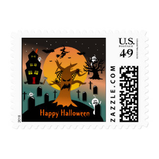 Haunted Tree Halloween Postage
