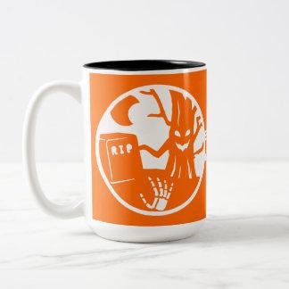 haunted tree with skeleton hand rising Two-Tone coffee mug