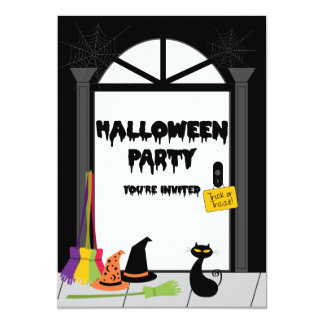 Haunted Witches' Door Halloween Party 5x7 Paper Invitation Card