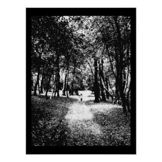 Haunted woods poster, ghostly girl print