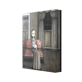Haunting art ,girl with cat. canvas print