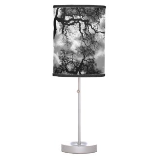 Haunting Black and White Trees Table Lamp
