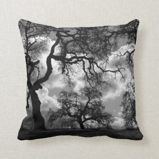 Haunting Black and White Trees Throw Pillow