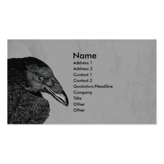 Haunting Black Crow Face Gray Business Cards