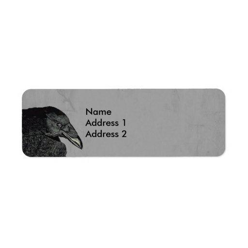Haunting Black Crow Face Gray Custom Return Address Labels