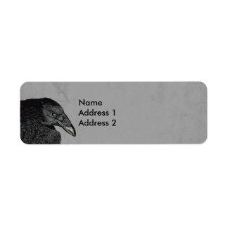 Haunting Black Crow Face Gray Return Address Label