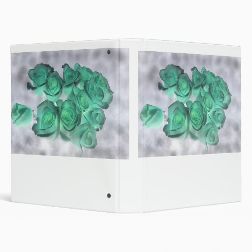 Haunting bouquet of roses tinted green 3 ring binders