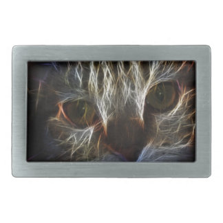 Haunting cat face art, made of light - gothic belt buckle