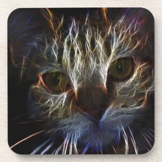 Haunting cat face art, made of light - gothic coaster