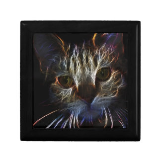 Haunting cat face art, made of light - gothic gift box