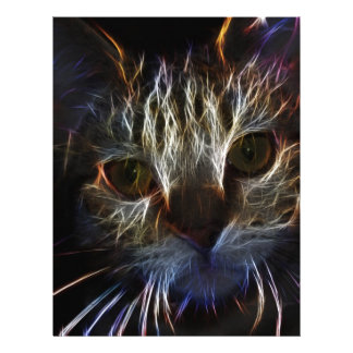 Haunting cat face art, made of light - gothic customized letterhead