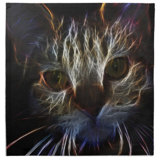 Haunting cat face art, made of light - gothic napkin