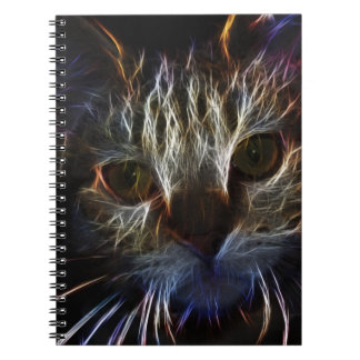 Haunting cat face art, made of light - gothic spiral notebooks
