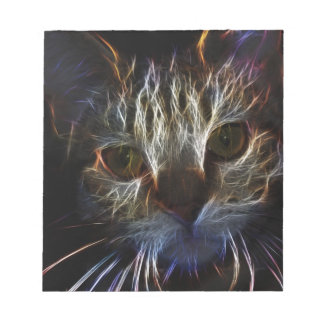 Haunting cat face art, made of light - gothic memo note pad