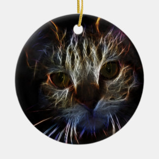 Haunting cat face art, made of light - gothic christmas ornaments