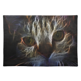 Haunting cat face art, made of light - gothic placemat
