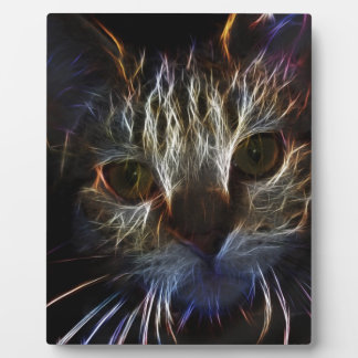 Haunting cat face art, made of light - gothic plaque