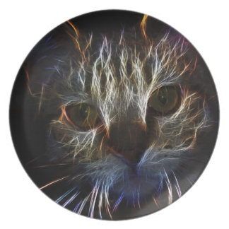 Haunting cat face art, made of light - gothic plates