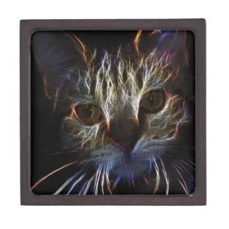 Haunting cat face art, made of light - gothic premium gift boxes