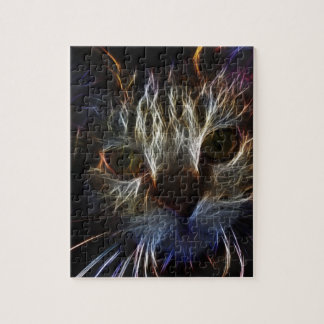 Haunting cat face art, made of light - gothic jigsaw puzzles